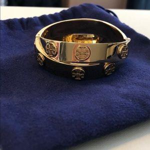 Tory Burch double wrap logo bracelet gold metal